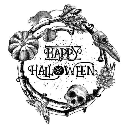attributes: Happy Halloween sign and poster. Halloween decoration in twig frame. Hand drawing witchcraft attributes, human skull, crow skull, rat, monster oak nut, pumpkin, pinecone, moth, deaths-head hawkmoth.