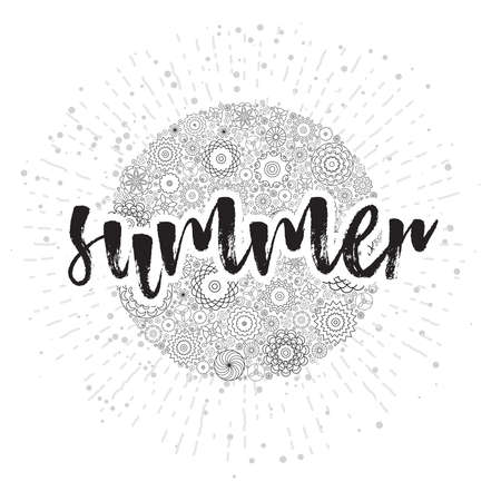 Summer holiday, hand drawn card and lettering calligraphy motivational word for summer vacation. Typographic design. Inspirational Inscriptions on floral sun with rays or beams.