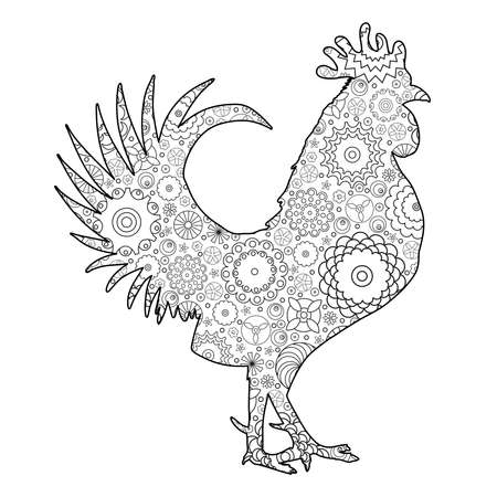 new years: Hand drawn doodle outline rooster illustration imitation. Decorative abstract floral ornate rooster drawing. Adult colouring bird. Stylized flower cartoon rooster or cock for colouring and drawing. Illustration