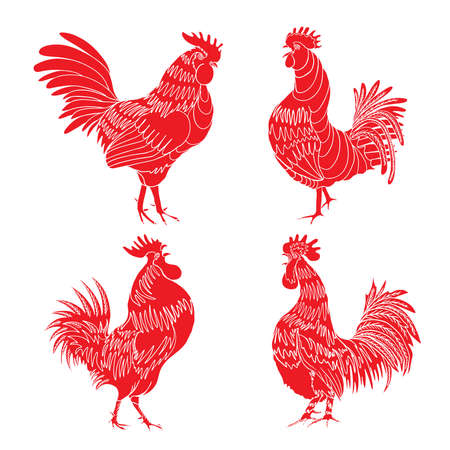 Set of roosters as animals zodiac symbols for Chinese New year 2017. Hand drawing collection of cocks design elements for Chinese New year cards. Chinese Year of the Rooster zodiac emblem bundle.