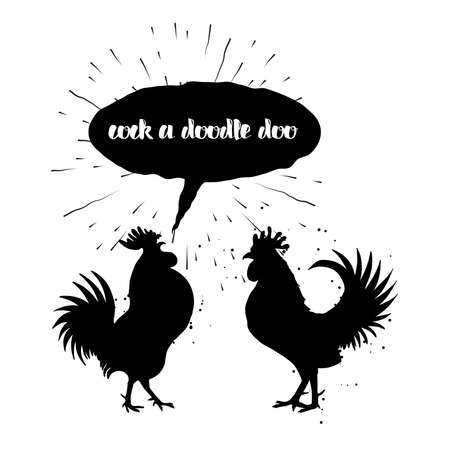Cock a doodle doo calligraphy writing in speech bubble. Hipster design with roosters. Hand drawing morning roosters birds on white background.