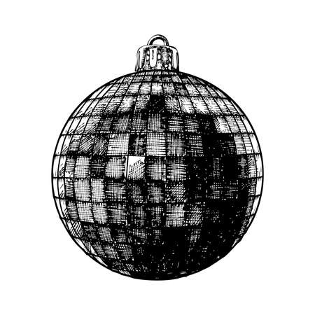 evening ball: Christmas ball for xmas and New Year tree decoration. Hand drawing. Evening holiday ball, hand drawn, isolated on white background. Vector.