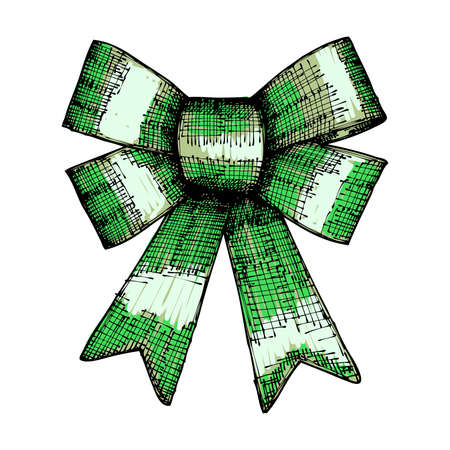 new year decoration: Christmas and New Year decoration green bow. Holiday hand drawn element. Vector. Illustration
