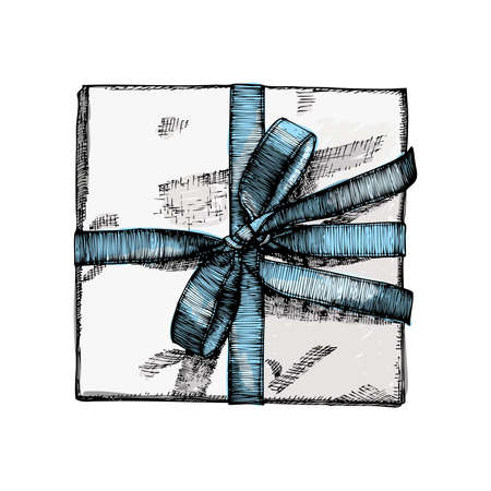 string top: Gift box with ribbon, string and bow in colour. Hand drawn realistic illustration. Top view close up drawing of gift box Isolated on white background.