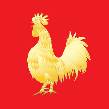 Chinese 2017 new year of the Rooster symbol. Gold metallic rooster on red background is looking at left. Hand drawing doodle with gradients. Chinese calendar Zodiac. Rooster golden silhouette.