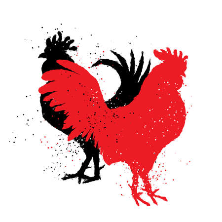 Red and black roosters. Two hipster vintage design with roosters. Imitation of hand drawing or painting of roosters silhouette with Chinese calligraphy Inksticks or India ink. Zodiac New Year 2017.