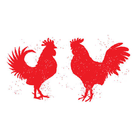 Couple of red roosters are looking at each other. Happy new year 2017 zodiac. Greeting card. Vector. Imitation of hand drawing or painting of roosters silhouette with Chinese calligraphy ink.