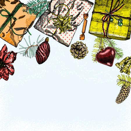 enebro: Navidad y Año Nuevo marco dibujado a mano de la vendimia se burlan con espacio para el diseño de texto. tarjeta de felicitación o invitación para la celebración. plantilla de vacaciones. Envolver regalos y juguetes. Vector. Vectores