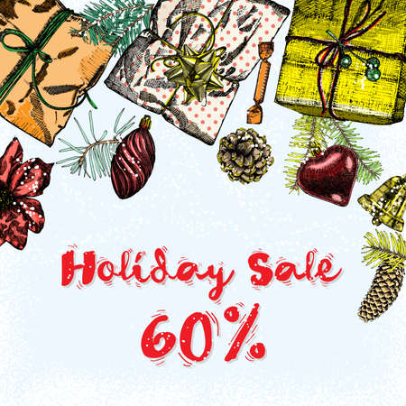 Holiday Sale 60 percent off. Christmas and New Year discount, sale banner illustration. Vector. Illustration