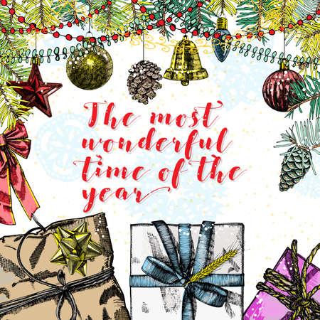 伝統的な装飾、ギフト用の箱、おもちゃ、グリーティング カード クリスマス、今年の最も素晴らしい時間。ホリデイ ・ フレームで書く書道。ベク  イラスト・ベクター素材