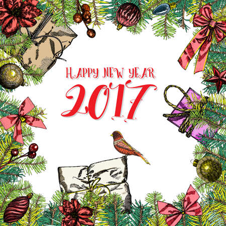 Happy New 2017 Year. Holiday illustration with lettering composition. Hand drawn celebration elements. Vector.