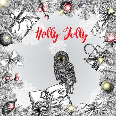 Holly Jolly kalligrafie-frase in frame met verschillende opknoping kerstversieringen zoals kerstbal, hart, heden, cadeau doos, kegel, speelgoed, lichten en sparrentakken met bogen. Vector. Stockfoto - 66806107
