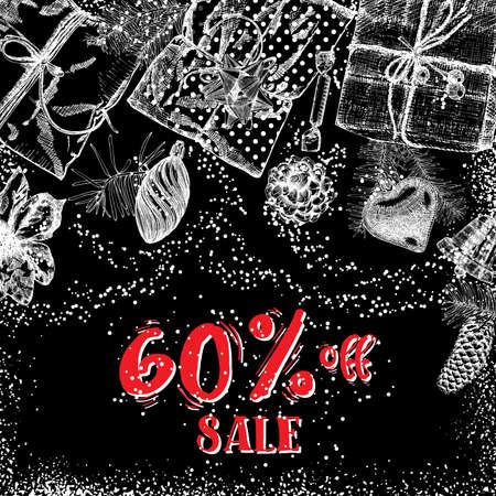 Sale 60 percent off, Christmas sale banner. Winter Holidays sale template banner. Vector. Illustration