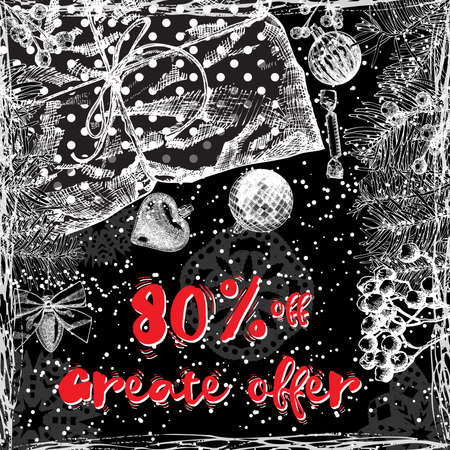 Great Offer 80 percent off, Christmas sale banner. Winter Holidays sale template banner. Vector.