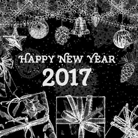 Happy New Year 2017handmade hand drawing style greeting card. Black white vector.