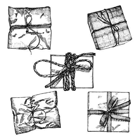 string top: Set of Gift box with ribbon, string and bow. Hand drawn realistic illustration. Top view close up drawing of gift box collection isolated on white background.