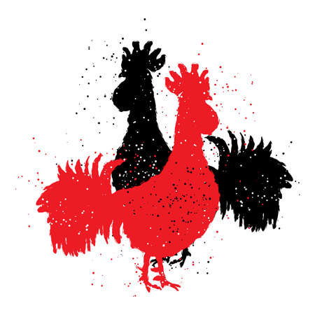 Two red and black roosters. Happy new year 2017 zodiac. Greeting card. Vector. Imitation of hand drawing or painting of roosters silhouette with Chinese calligraphy Inksticks or India ink.