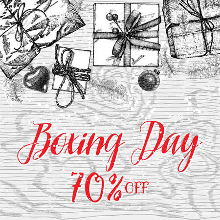 Sale Discount background for family boxing day holiday store, shop, promotional leaflet. Handdrawn Christmas and New Year promotion poster and  banner.