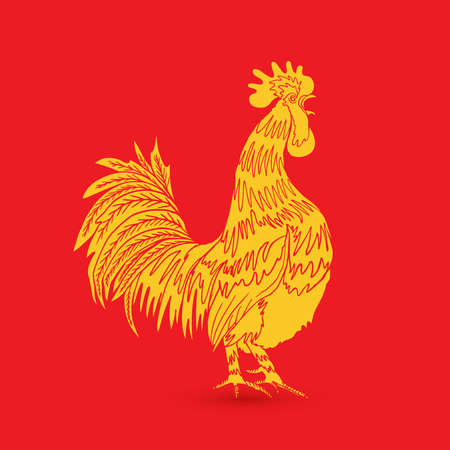 Traditional yellow gold rooster on red background as zodiac symbol for Chinese New year 2017. Hand drawing cock design element for Chinese New year cards. Chinese Year of the Rooster zodiac emblem.
