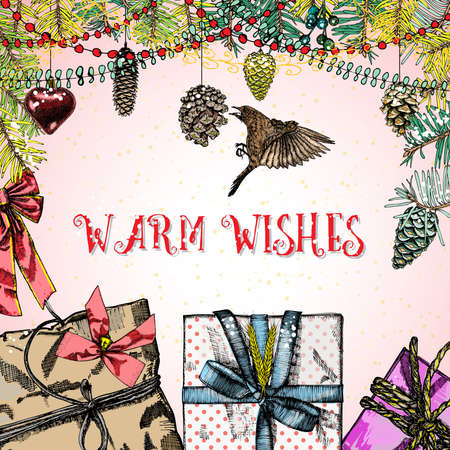 holly day: Warm Wishes,  Merry Christmas holiday lettering with holly berry, bow, bird and pinecones.