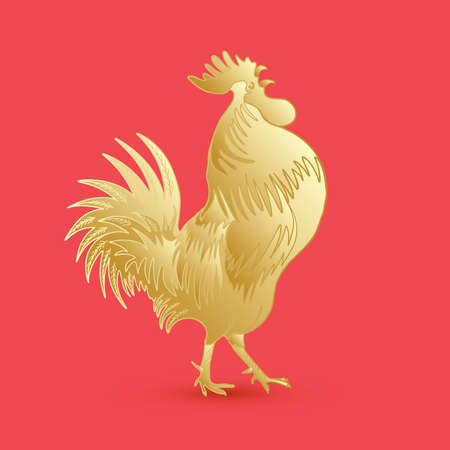 Golden rooster on red background looking at right. Chinese calendar Zodiac for 2017 New Year of rooster. Rooster golden silhouette. Hand drawing doodle with gradients. Chinese Happy New Year.