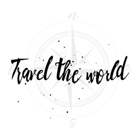 wandering: Travel the world hand drawn typography posters, emblem or quote. Artworks for hipster wear. Adventure inspirational illustration on grunge background. Illustration