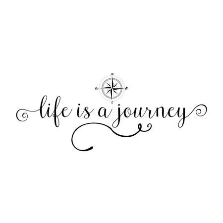 wandering: Life is a journey, calligraphy sign. Brush painted letters. Take a journey life style illustration. Compass or Wind rose background. Illustration