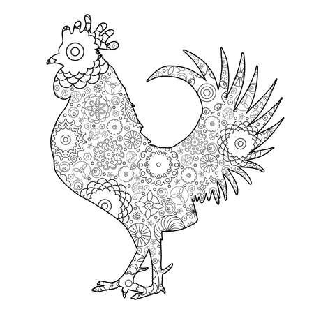 손으로 그린 낙서 개요 닭 그림의 모방. 장식 추상 꽃 화려한 닭 그림. 성인 색상 조류입니다. 그림 및 그리기 양식에 일치시키는 꽃 만화 닭 또는  일러스트