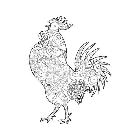 Rooster or cock, chicken, farm  bird for adult coloring page. Adults anti stress coloring book  design. Vector bird made of circle flowers. Chinese traditional 2017 new year decorative zodiac.