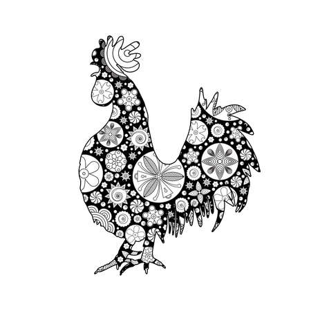 Hand drawn doodle outline rooster illustration imitation. Decorative abstract floral ornate rooster drawing. Adult colouring bird. Stylized flower cartoon rooster or cock for colouring and drawing. Illustration