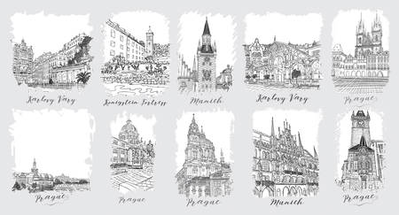 Prague. Karlovy Vary. Munich. Set of creative artistic invitations and collectible chocolate packaging. Hand drawn ink vacation and travel invite cards or flayers with calligraphic city writing. Ilustração