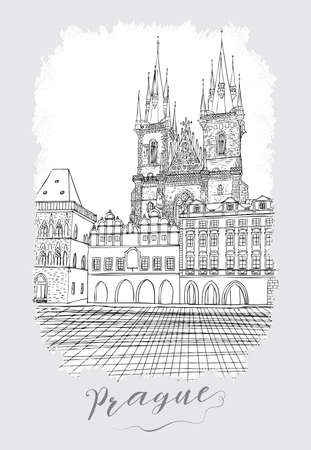 plaza: Hand drawn series of vacation travel invitations card or flayers with calligraphic city writing. Prague, Czech Republic, ink drawing imitation. With grunge frames.