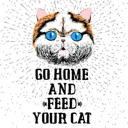 starving: Go home and feed your cat. Sign with cute smiling cat. Motivational lettering on texture background. Inscriptions for pet lovers. Inspirational typographic calligraphy. Demanding phrase. Illustration