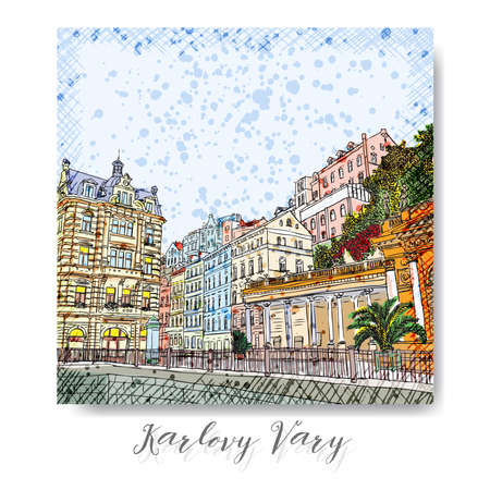 flayers: Hand drawn series of vacation travel invitations card or flayers with calligraphic city writing. Karlovy Vary, Czech Republic, ink and painted watercolor imitation. With grunge frames.