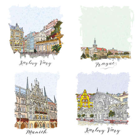 flayers: Set of creative artistic invitations. Hand drawn ink vacation and travel invite cards or flayers with calligraphic city writing. Prague, Karlovy Vary, Czech Republic, Munich city in Germany. Illustration