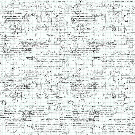 arithmetic: Seamless pattern of mathematical operation and equation, endless arithmetic pattern on endless copybook paper sheet. Handwritten lesson. Geometry, math, physics, electronic engineering subjects.