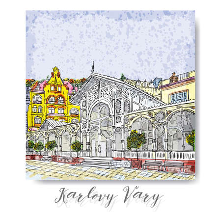 plaza: Hand drawn series of vacation travel invitations card or flayers with calligraphic city writing. Karlovy Vary, Czech Republic, ink and painted watercolor imitation. With grunge frames.