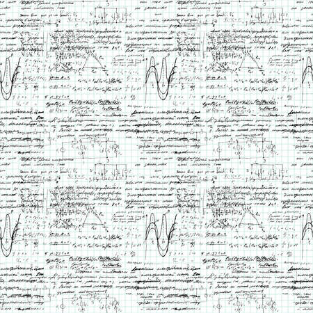 lectures: Math seamless pattern handwritten on a grid copybook paper, various operations and step by step solutions. Geometry, math, physics, electronic engineering subjects. Lectures. Lesson record. Blue grid.