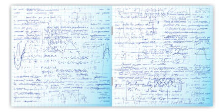 grid paper: Seamless pattern, handwriting text. Calligraphy text on a grid copybook paper. Open exercise book. Archives, science, geometry, math, physics, electronic engineering subjects. Natural writing style.