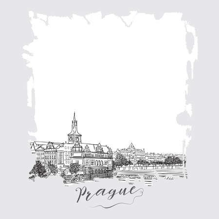 Hand drawn series of vacation travel invitations card or flayers with calligraphic city writing. Prague, Czech Republic, ink drawing imitation. With grunge frames.