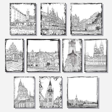 flayers: Set of creative artistic invitations and collectible chocolate packaging. Hand drawn ink vacation and travel invite cards or flayers with calligraphic drawings. Prague. Karlovy Vary. Munich.