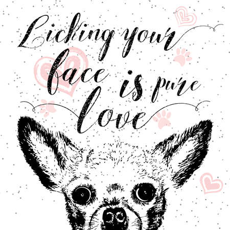 doggie: Licking your face is pure love, hand drawn card, lettering calligraphy motivational quote for dog lovers and typographic design. Cute, friendly, smiling, inspirational doggie with hearts and sparkle.
