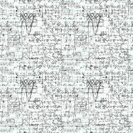 arithmetic: Seamless pattern of mathematical operation and equation, endless arithmetic pattern on endless copybook paper sheet. Illustration