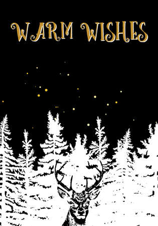 Hand drawn Christmas card. New year pine or fir tree with snow. Calligraphic Christmas holiday text on black background.