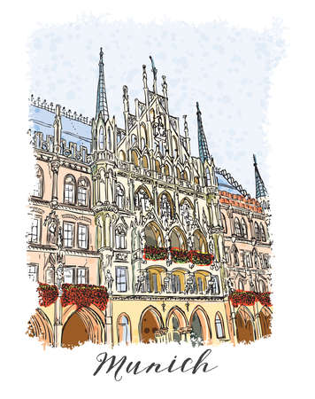 plaza: Hand drawn series of vacation travel invitations card or flayers with calligraphic city writing. Munich city in Germany, ink drawing and painted with watercolor imitation in grunge frames. Vector. Illustration