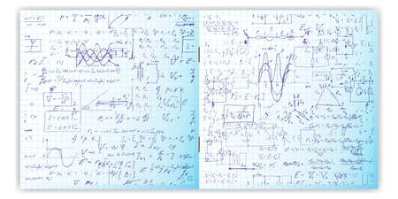 grid paper: Set of vector seamless pattern with real hand written text on copybook grid paper. Two pages of lectures archives, science, geometry, math, physics, electronic engineering . Open exercise book.