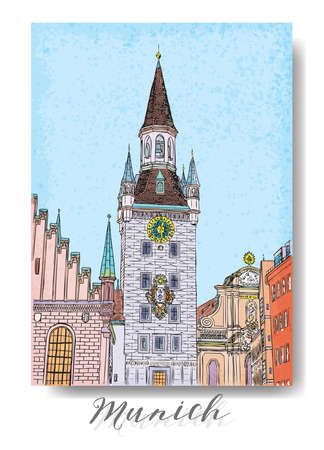 flayers: Hand drawn series of vacation travel invitations card or flayers with calligraphic city writing. Munich city in Germany, ink drawing and painted with watercolor imitation in grunge frames. Vector. Illustration
