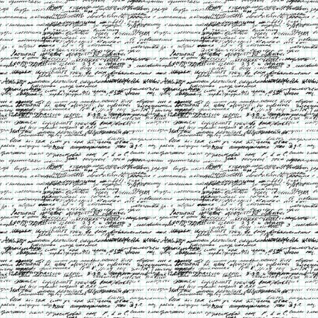 style: Vector seamless pattern with real hand written text on endless copybook paper sheet grid. Lectures archives science. Natural hand writing style. Endless pattern with handwriting text. Calligraphic.
