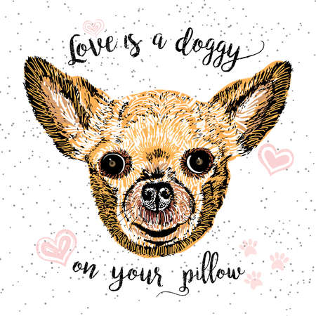 purring: Love is a doggy on your pillow, drawn card and lettering calligraphy motivational quote for dog lovers and typographic design. Cute, friendly, smiling, inspirational doggy with hearts and sparkle. Illustration