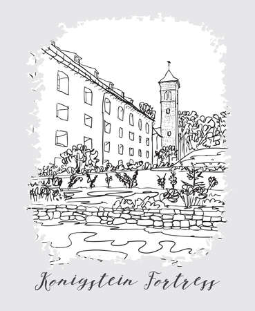 the bastille: Series of vacation travel invitations card or flayers with calligraphic writing. Kenigstein Fortress, the Saxon Bastille, fortress near Dresden, in Saxon Switzerland, Germany, ink drawing imitation. Illustration